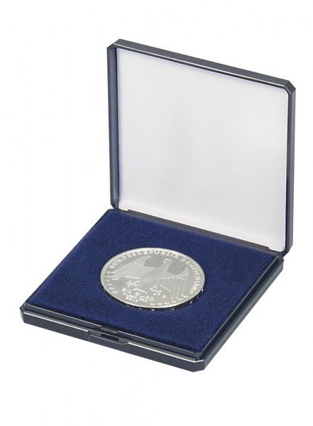Lindner Münz-Etui mit Patenteinlage zum Eindrücken für Münzen bis Ø 50 mm, blau