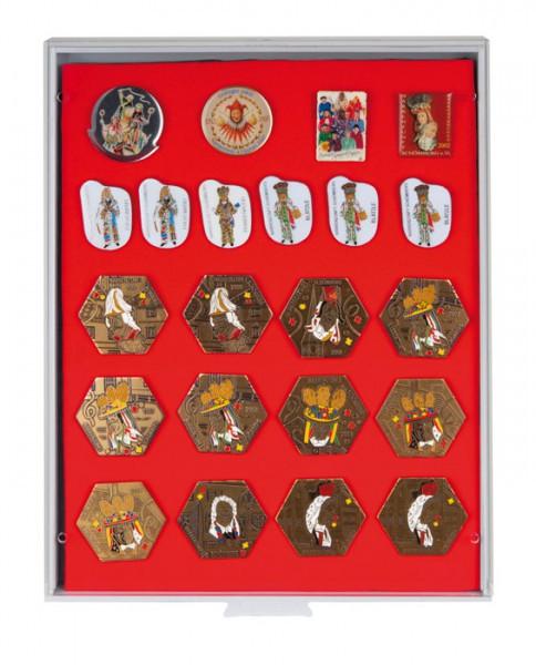 Lindner Sammelbox STANDARD mit roter Schaumstoffeinlage für PINs / Orden / Abzeichen