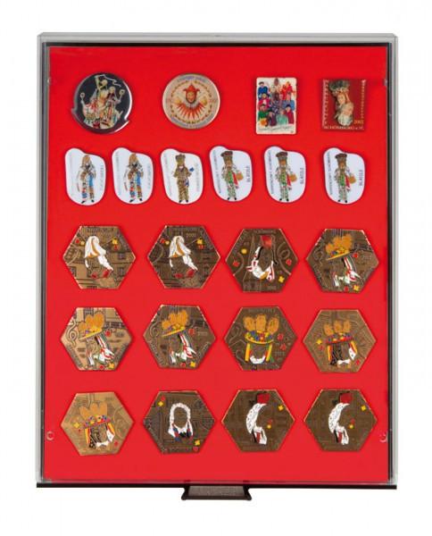 Lindner Sammelbox RAUCHGLAS mit roter Schaumstoffeinlage für PINs / Orden / Abzeichen