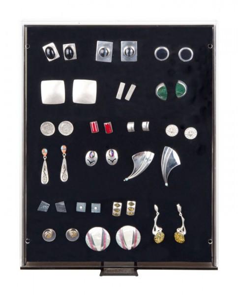 Lindner Sammelbox RAUCHGLAS mit schwarzer Schaumstoffeinlage für PINs / Orden / Abzeichen