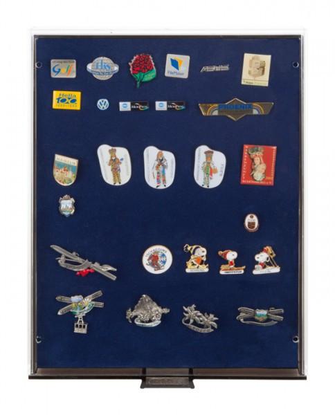 Lindner Sammelbox RAUCHGLAS mit blauer Schaumstoffeinlage für PINs / Orden / Abzeichen