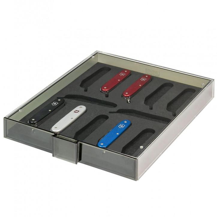 """LINDNER Sammel- /Präsentationsbox für 12 schweizer Taschenmesser VICTORINOX* Modelle """"Pioneer"""" und """"Farmer"""""""
