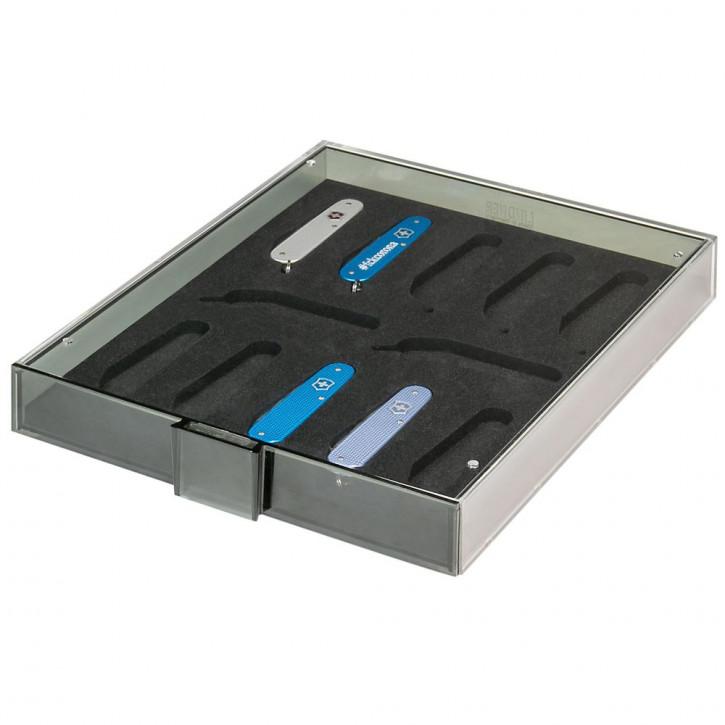 """LINDNER Sammel- /Präsentationsbox für 12 schweizer Taschenmesser VICTORINOX* Modell """"Cadet"""""""