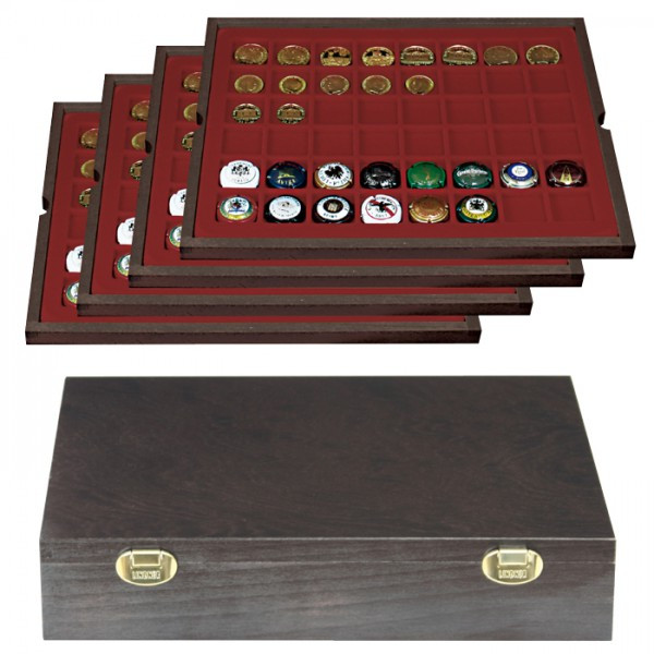 Lindner Echtholzkassette CARUS mit 4 Tableaus für 192 Münzen/Münzkapseln bis Ø 30 mm oder Champagner-Kapseln, Einlage Dunkelrot