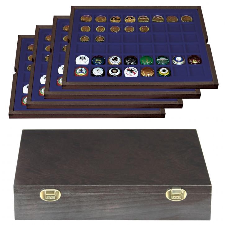 Lindner Echtholzkassette CARUS mit 4 Tableaus für 192 Münzen/Münzkapseln bis Ø 30 mm oder Champagner-Kapseln