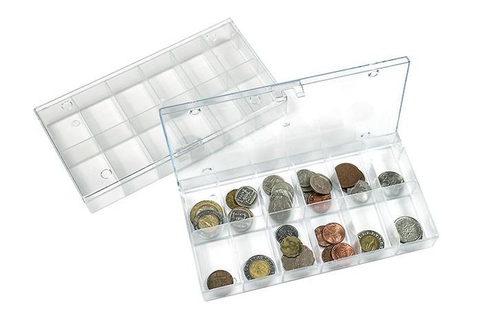 Lindner Sammelbox transparent, 12 feste Fächer 63x48 mm, einzeln