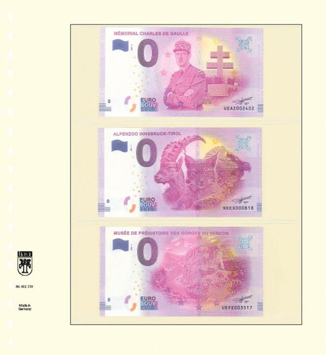 T-Blanko-Blätter mit 3 Streifen für 0-Euro Souvenirscheine, 10er-Packung